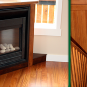 wood fireplace frame/staircase